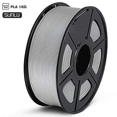 SUNLU PLA Filament 1.75mm 3D Printer Filament PLA 1kg Spool (2.2lbs), Dimensional Accuracy of +/- 0.02mm PLA Gray