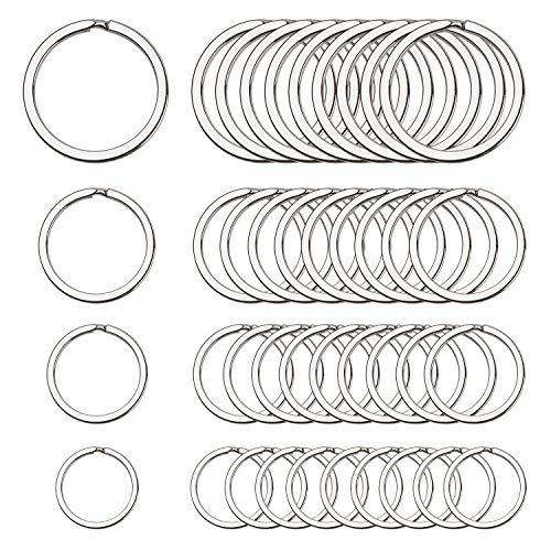Teskyer Flat Key Chain Rings, 4 Sizes Round Split Metal Key Rings for Organizing...