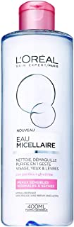 L'Oreal Paris Micellar Cleansing Water Normal To Dry Skin Cleanser & Makeup Remover 400 ml, Pack of 1