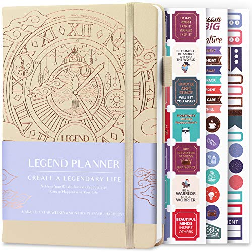 Legend Planner - Deluxe Weekly & Monthly Life Planner to Hit Your Goals & Live Happier. Organizer Notebook & Productivity Journal. A5 Hardcover, Undated - Start Any Time + Stickers - Seashell Gold