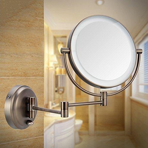 Badkamer Dubbelzijdige LED Make-up Spiegel Wandlamp Met Schoonheid Opvouwbare Telescopische Spiegel Badkamer Spiegel (tweekleurig Optioneel)