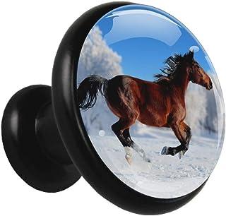 Running Horse en campo de nieve Pomo de cajón redondo de metal sólido con vidrio de cristal para la puerta del gabinete de...