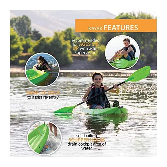 Lifetime Youth 6 Feet Wave Kayak with Paddle 3 Perfect for Kids of All Ages Molded Finger Handles on Each Side of Kayak Swim-Up Step