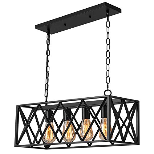 Industrial Kitchen Island Pendant Lighting, Pynsseu Rectangular Vintage Rustic 4-Light Hanging Pendant Light Fixtures for Kitchen Farmhouse, Bar, Dinning Room