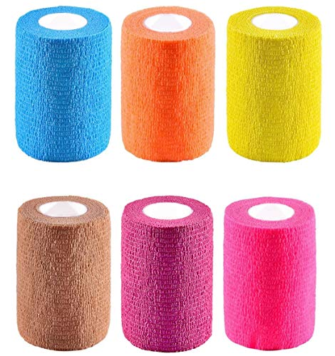"""6 Pack 3"""" x 5 Yards Self Adhesive Elastic Bandage Wrap Stretch Self-Adherent Tape for First Aid,Sports, Wrist, Ankle (6 Colors)"""