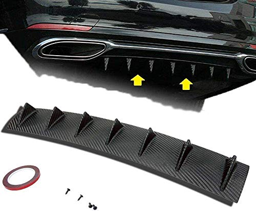 S SIZVER 1 x Carbon Style Rear Lower Bumper Diffuser Fin Spoiler Lip Wing Splitter 34'x6'