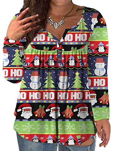 Christmas Shirts Plus Size Holiday Tops for Women Ugly Tunic SA 26W