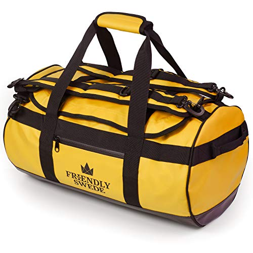 The Friendly Swede Wasserfeste Reisetasche Duffle Bag Rucksack - 30L / 60L / 90L - Seesack, Sporttasche Duffel Dry Bag mit Rucksackfunktion - SANDHAMN (Gelb, 30L)