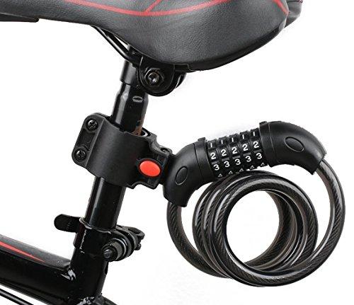 バイク ダイヤルロック ワイヤーロック 自転車ロック 長1200mm 横断面直径12mm 5桁 防盗 (001)