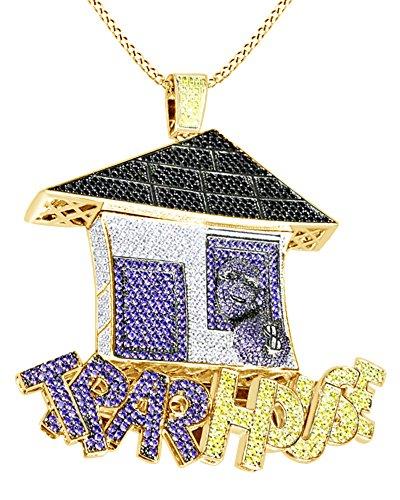 """Collana con ciondolo multicolore con scritta """"Trap House"""" e strass, placcato in oro bianco 18K su argento sterling e argento placcato oro giallo 18 ct, cod. M-CBP5711-YG"""
