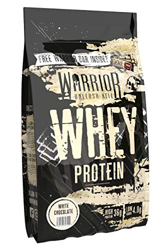Warrior Whey Protein Powder - High Protein Low Carb - 36g Protein - 1kg Muscle Building - White Chocolate Flavour