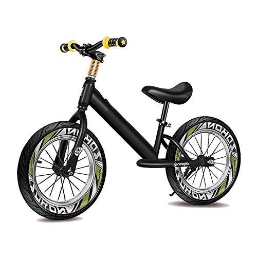 Bicicleta Sin Pedales Equilibrio Azul Negro Niños Grandes Niño Bicicleta de Equilibrio con Neumático de Aire de 16 Pulgadas, Grande Sin Pedal Bicicleta para La Altura del Niño 118-150cm, Marco de Alum