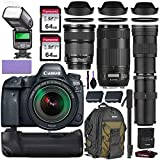 Canon EOS 5D Mark IV DSLR Camera w/Canon 24-105mm is STM, Canon 70-300mm is II USM & Commander 420-800mm Telephoto Lens + Elegant Accessory Kit (2X 64GB Memory Card, Canon Backpack, TTL Flash & More)