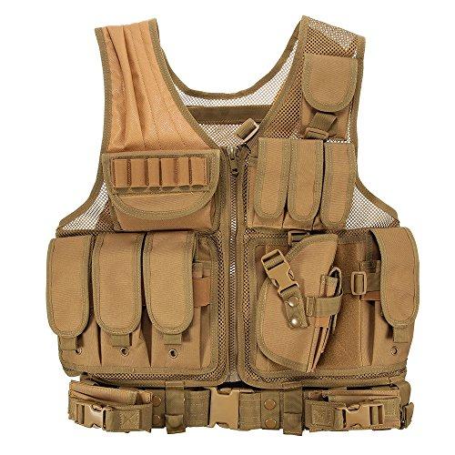 Lixada Taktische Weste Herren-Outdoor Weste mit Taschen- Tactical Weste für Jagd Angeln Camping