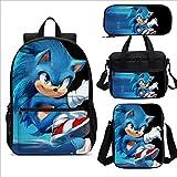 XINKANG Paquete Comida Sonic Mochila Escolar niños Figura Anime 4 Uds, Mochila Escolar niños Sonic The Hedgehog, Mochila 3D diseño Dibujos Animados, Personalizada Regalo