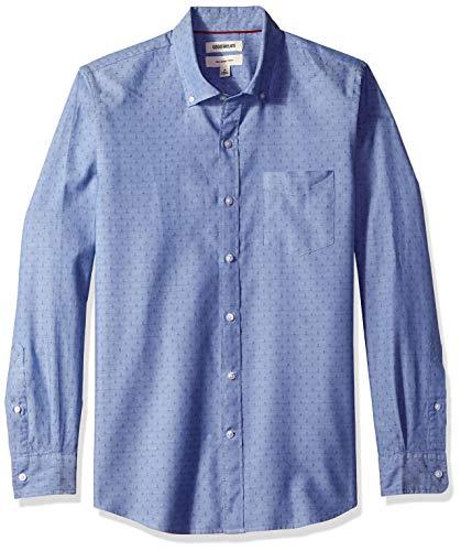 Goodthreads Men's Slim-Fit Long-Sleeve Dobby Shirt, -blue diamond, Medium
