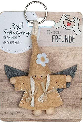 GILDE - 42641 - Schutzengel, Schlüsselanhänger, Wichtel, Für Beste Freunde, Filz und Holz, 9cm, orange