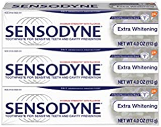 Sensodyne Toothpaste for Sensitivity, Extra Whitening for Sensitive Teeth, 4 oz (Pack of 3)