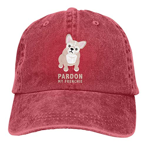 QNCNWI Pardon My Frenchie Sports Denim Cap Adjustable Snapback Unisex Plain Baseball Cowboy Hat
