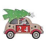 bdrsjdsb Weihnachtssankt-Schneemann-Auto-Licht-hölzerne Countdown-Kalender-Ausgangsdekor-Verzierungs-Geschenke Weihnachtsmann *
