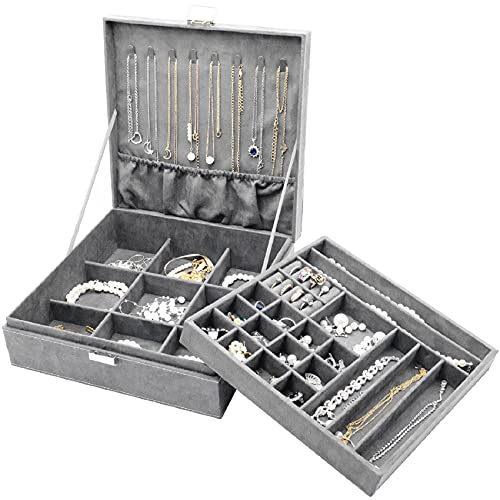 ProCase Jewelry Box Organizer for Women Girls, Two Layer Jewelry Display Storage Holder Case for Necklace Earrings Bracelets Rings Watches -Grey