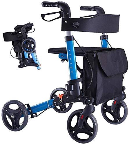 Einkaufstrolley mit Klappsitz,Leichter 4 Rad-Mobilitäts-Aluminiumrahmen mit Sitzkrückenhalter,Einkaufswagen Warenkorb Tasche Rollator Walker für Behindertenhilfe, Blau