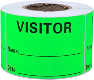 Hybsk Visitor Pass Fluorescent Green Visitor Identification Labels Stickers 300 Labels Per Roll (Fluorescent Green)