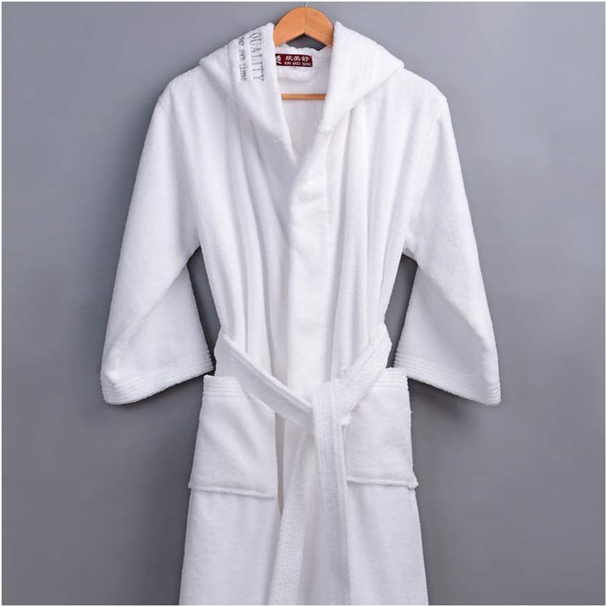 FOREVER PENGUIN Bathrobe with Hooded Thick Cotton Towel Winter Long Robe for Men and Woman,White,L