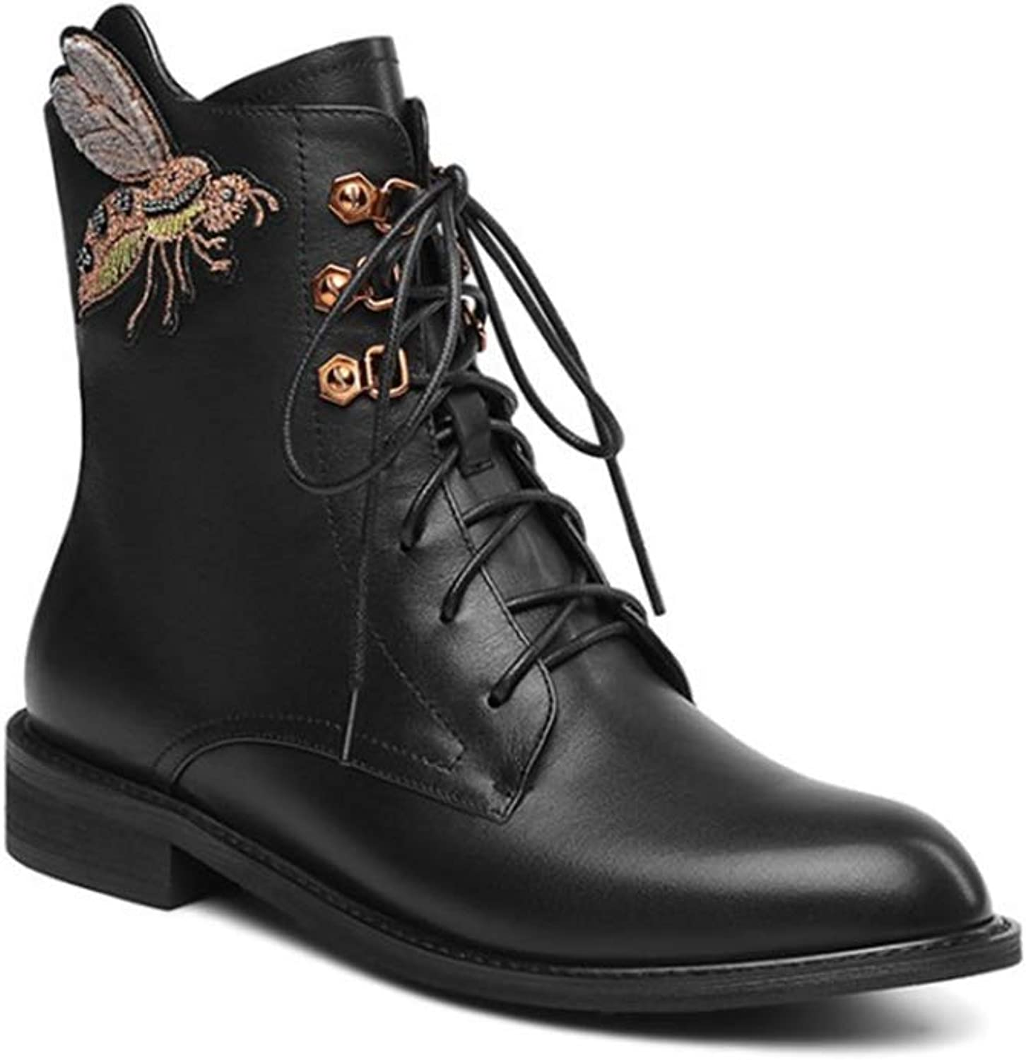 Women's Boots British Retro Pointed Martin Boots Lace Up Leather Autumn and Winter Plus Velvet Ankle Boots Rough Locomotive Boots (color   Black, Size   34)