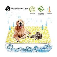 夏のペット冷却マット自己冷却マットアイスシルクパッド猫犬ソファクッションクールベッド屋内屋外使用コールドシルクベッド-S-