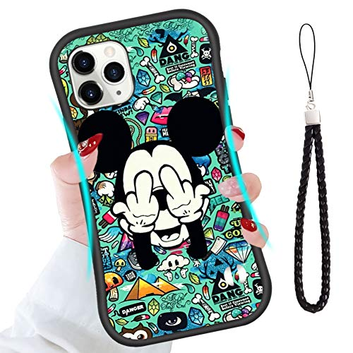 DISNEY COLLECTION iPhone 11 Pro Max Case Cute Mickey Makes Face Slim Waistline Design Style with Wristband Anti-Scratch Shock Absorbing Protective Cover for iPhone 11 Pro Max 6.5 Inch 2019
