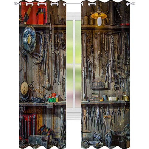 YUAZHOQI Blackout Window Curtain Vintage Tools Hanging On A Wall in A Tool Shed Or Workshop 52' x 84' Noise Reducing Curtain