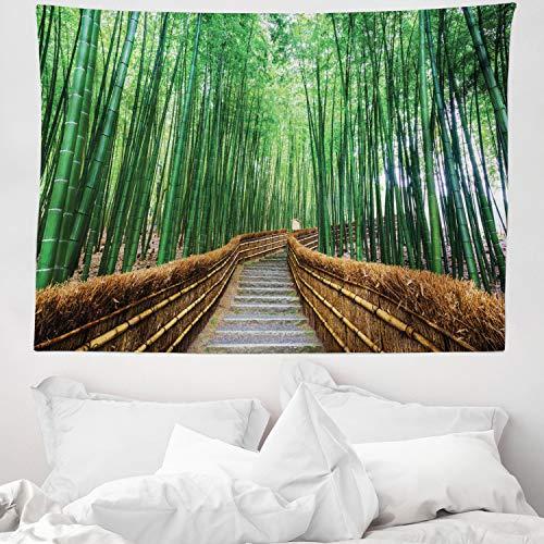 ABAKUHAUS Dschungel Wandteppich & Tagesdecke, Tropical Exotic Scenery, aus Weiches Mikrofaser Stoff Wand Dekoration Für Schlafzimmer, 150 x 110 cm, Grün & Braun