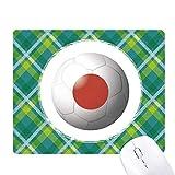 日本の国旗のサッカー・ワールドカップ 緑の格子のピクセルゴムのマウスパッド