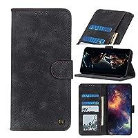 電話のフリップカバー サムスンギャラクシーA72 5Gフリップ財布ケースキックスタンドカードスロット磁気閉鎖耐衝撃保護ケース .保護カバーケーススキン (Color : Black)