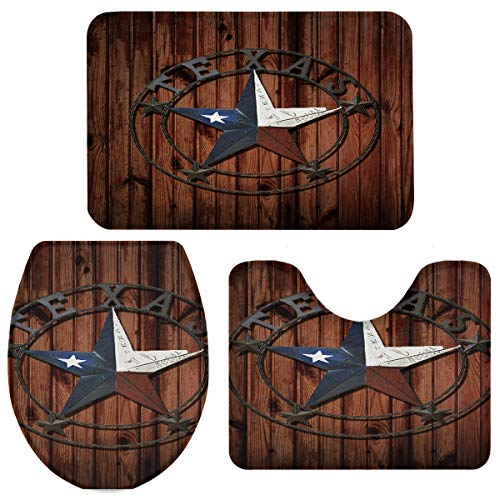 3 Pieces Bathroom Rugs and Mats Sets, Non Slip Water Absorbent Bath Rug, Toilet Seat/Lid Cover, U-Shaped Toilet Mat, Home Decor Doormats - Rustic Rug Western Texas Star