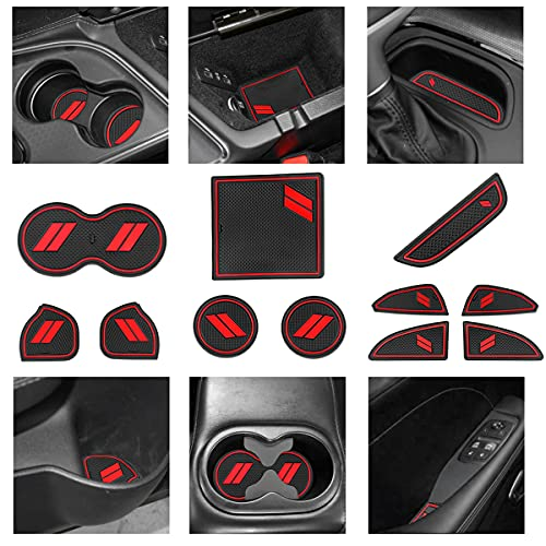YANWEN Custom Fit for 2015-2020 Dodge Challenger Cup Holder Insert & Center Console Shifter Liner...