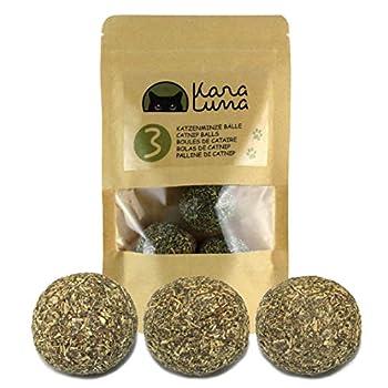 KaraLuna 3X Balle Herbe à Chat I Boules de cataire I 100% Naturelle I Catnip Ball