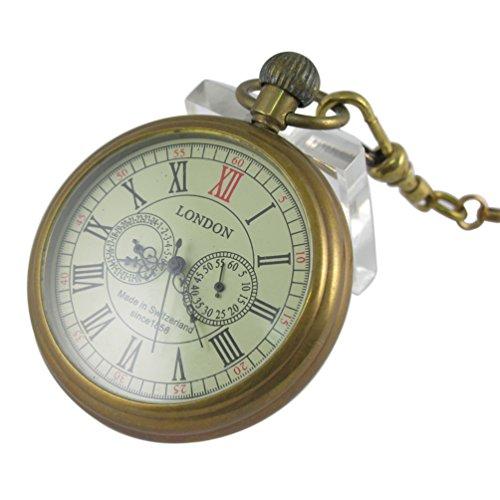 VIGOROSO メンズ フル銅 ビンテージ 手巻き機械式 秒と24時間のサブダイヤル付き 懐中時計 箱入り