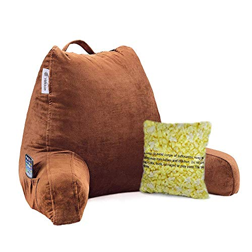 Vekkia Reading & Bed Rest Pillow with Support Arms, Pockets, Memory Foam. Perfect Back Support Cushion for Adults Reading/Watching TV/Sitting Up in Bed – Extra Foams Incl. Customize Softness-18