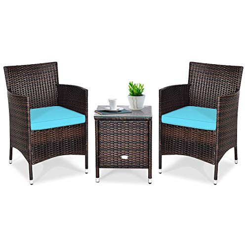 Tangkula Patio Furniture Set 3 Piece, Outdoor Wicker Rattan Conversation Set with Coffee Table, Chairs & Thick Cushions, Suitable for Patio Garden Lawn Backyard Pool
