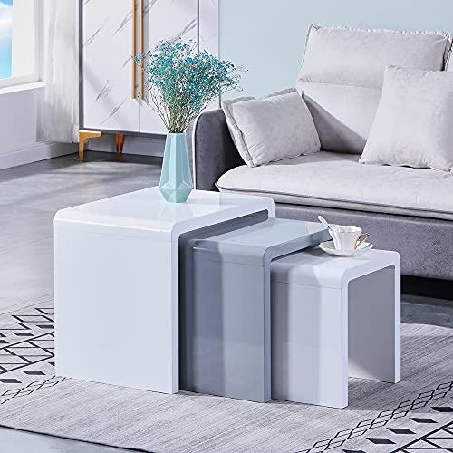GOLDFAN Moderno Set di 3 Tavolini da caffè Sovrapponibili Tavolino da Divano Quadrato Multifunzionale Tavolino d'Appoggio da Salotto