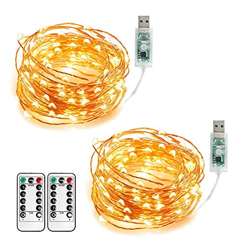 Annefly 2Pack 10M USB Powered Fairy Lights Plug in String Lights with Remote and Timer for Bedroom Indoor Outdoor Decoration(Warm White)