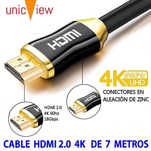 Cable HDMI 2.0 de 7 Metros 4K Ultra HD Marca Unicview | Alta Velocidad con Ethernet | Full HD 1080p/4K Ultra HD 2160p/3D/ARC y CEC | Triple blindaje Compatible con TV I Proyector I PS4 I Xbox