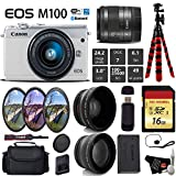 Canon EOS M100 Mirrorless Digital Camera (White) with 15-45mm Lens + UV FLD CPL Filter Kit + Wide Angle & Telephoto Lens + Camera Case + Tripod + Card Reader - International Version Kit