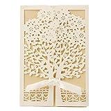 VStoy Cartes d'invitation Motif Arbre Fleurs Découpe Laser avec Nœud en Soie, blanc, 20PCS