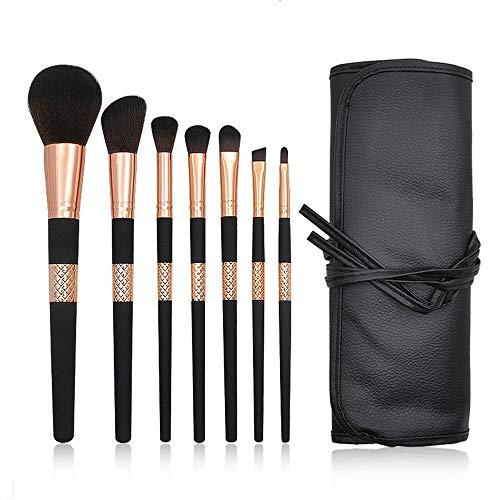 DYecHenG Pinceau De Maquillage Brosse De Maquillage Fondation Fondation Gloss Fard À Paupières avec Brosse De Maquillage for Sac PU 7 Jeux Convient Aux Maquilleurs (Color : Black, Size : 10x23x4cm)