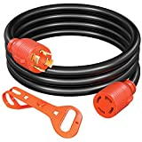 OYMSAE 30 Amp Generator Extension Cord 10 Feet, NEMA L14-30P/L14-30R, 125/250V Up to 7500W, 10 Gauge 4 Prong SJTW Generator Cord, UL Listed