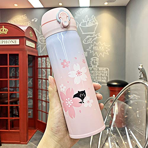 Tapa de botella de termo de color degradado de moda Sakura Cat Botella de agua portátil de dibujos animados de acero inoxidable Cute Men and Women Botella de agua,500ml
