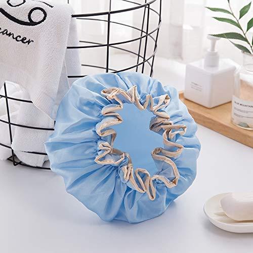 Chapeau cheveux secs serviette cheveux Femme Double douche imperméable Cap Bain Chapeau Cheveux Bonnets de douche modèles adultes perruque anti-fumée sèche-cheveux Cap aijia (Color : Blue)